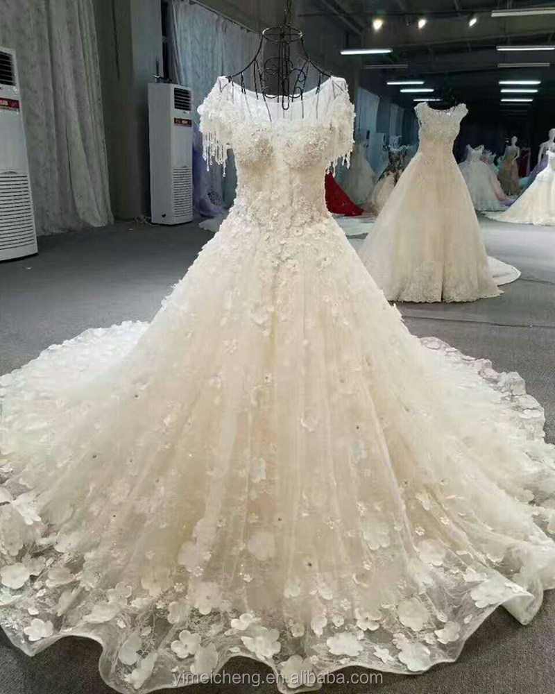 Private customized Pleat Ball Gowns luxury heavy beaded white Wedding Dress