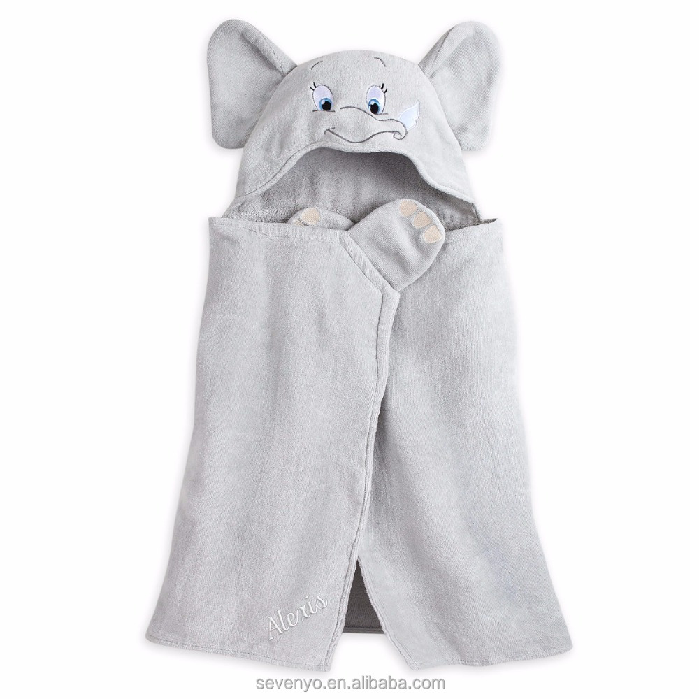 Light weight elephant 100% bamboo baby Hooded towel super fluffy premium baby bath towel