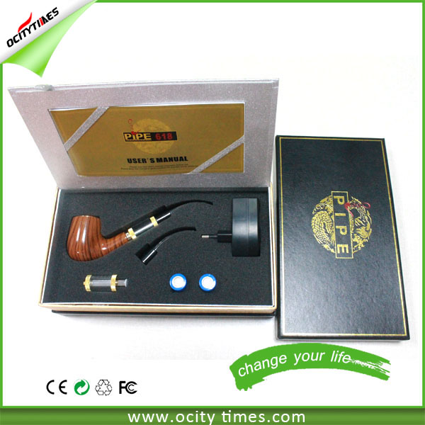 Cool design high quality e pipe 618 e cigarette huge vapor vaporizer 18350 battery wooden 618 e pipe kit newly coming