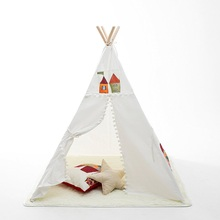 White cotton canvas teepee tent kids play toys teepee