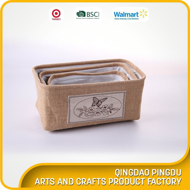 Multifunction Foldable Jute Household Storage Basket With Ears Foldable Burlap Jute Storage Basket