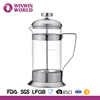 Borosilicate Glass Body And SS Handle Lid French Press Coffee Maker 1 Litre