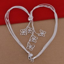 Wholesale Fashion Women Hollow Five Snake Chain Stamped 925 Silver Butterfly Necklace