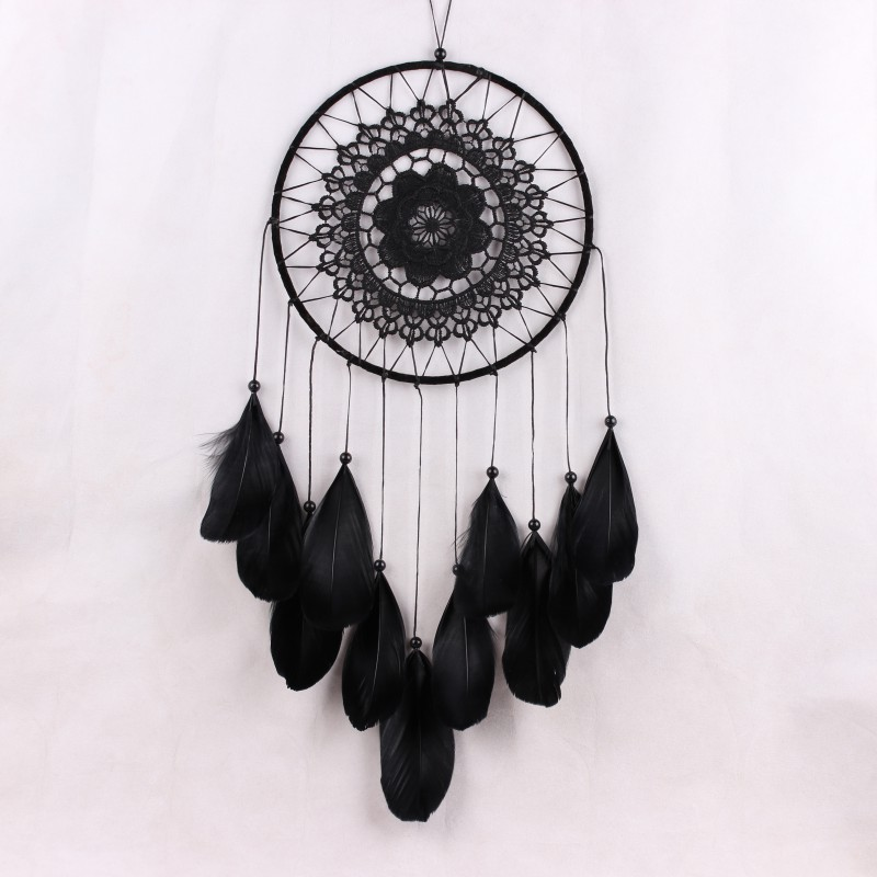 Lace Handmade Dream Catcher Feather Bead Hanging Decoration Ornament Gift Decal