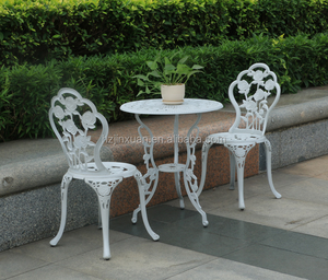 BT04CA Hot Royal garden patio metal casting aluminum bistro table and chairs three-piece cast alu. set roses outdoor furniture