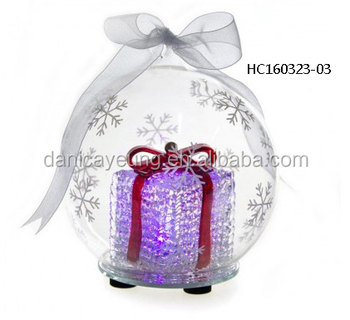 Fashion hanging glass LED light christmas baubles with gift bag