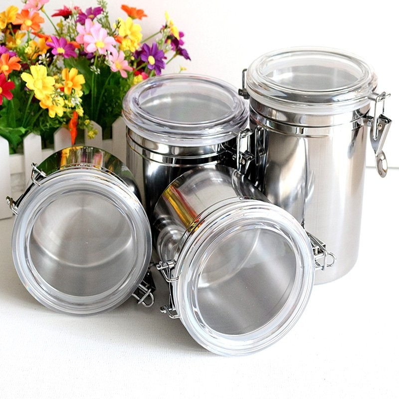 Popular stainless steel Coffee vacuum storage container airtight storage coffee container