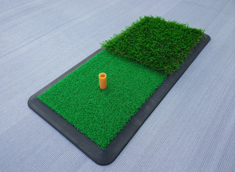 Long and short grass Launch Zone Hitting Mat golf hitting mat with Rubber Tee Holder