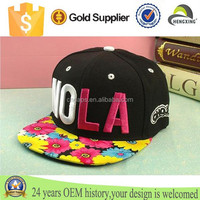 2015 Wholesale 3D Embroidered 6 Panel Snapback Baseball Hat/Caps With Foldable Colorful Brim