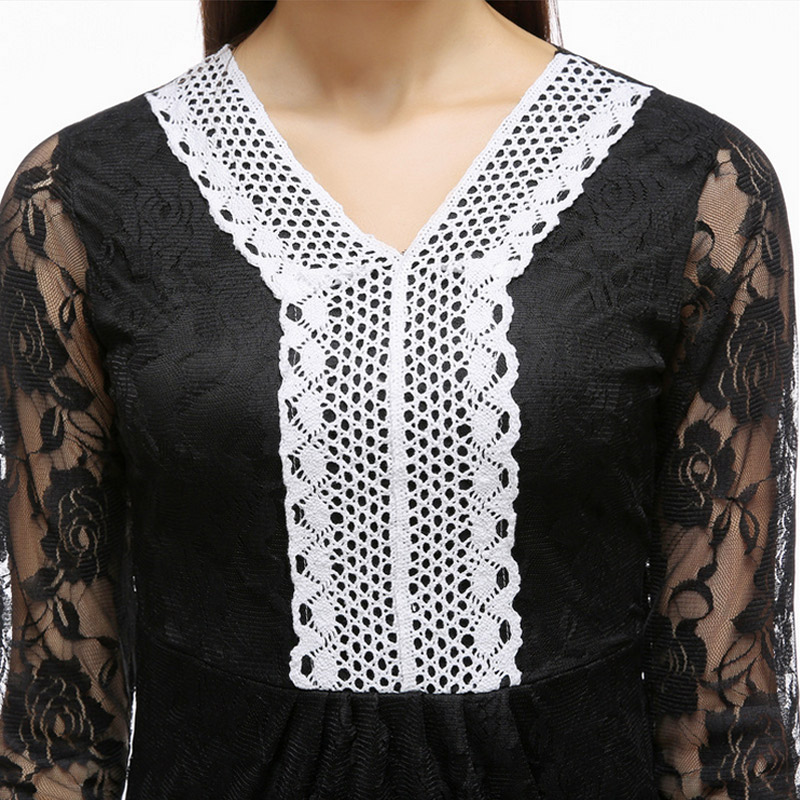 Vintage American Style Lace Sexy V Collar Dress Hollow Nine Point Sleeve Women's Dress