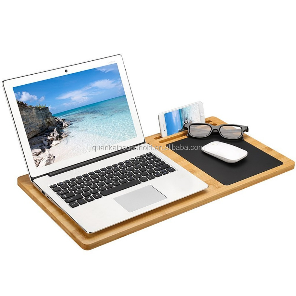 LANGRIA Bamboo Lap Desk Tray Board Multi-Tasking Laptop Computer Tablet Cellphone Stand Holder with Built-in Mouse Pad