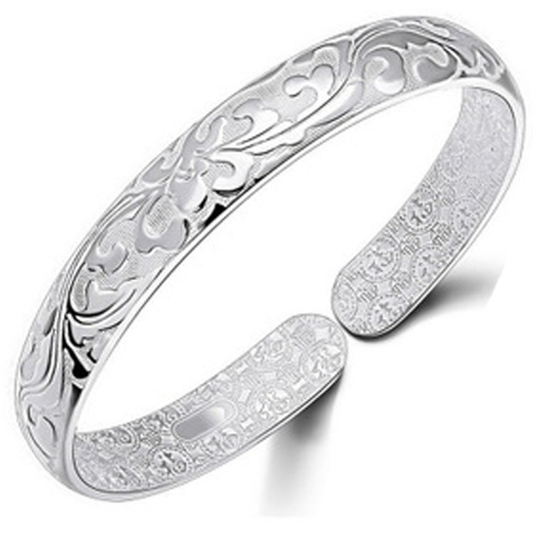 Flower 925 Sterling Silver Cuff Wide Bangle Bracelet Wristband Women Ethnic Vintage Women Luxury Hand Genuine Fine Jewelry