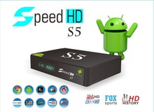 dvb-s2 android 4.0 smart tv box speed hd s5 vfd display support vod and iptv pk azbox