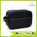 Black Canvas Zipped Travel Toiletry Bag Mens Ladies Supply Toiletry Bag