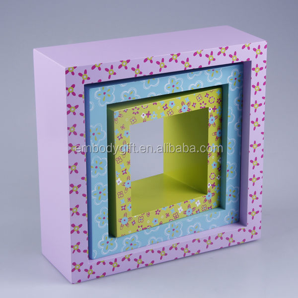 Hot sale new design s/3 MDF cube decorative wooden wall shelf