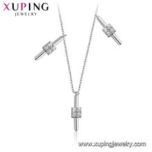 44283 Xuping new arrival ladies jewelry simple design rhodium gold plated necklace