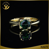 Classic gold jewelry with emerald, green zircon diamond rings for wedding