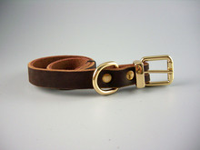 Pet premium Brown Genuine Leather Dog Collars for large dog