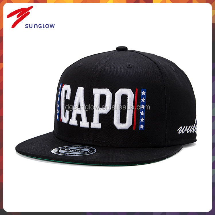 custom flat peak design your own snapback cap with 3d embroidery