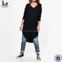 Cold shoulder black tall women t shirt printing custom wholesale sports clothing