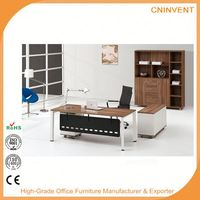 High tech office executive desk with side table