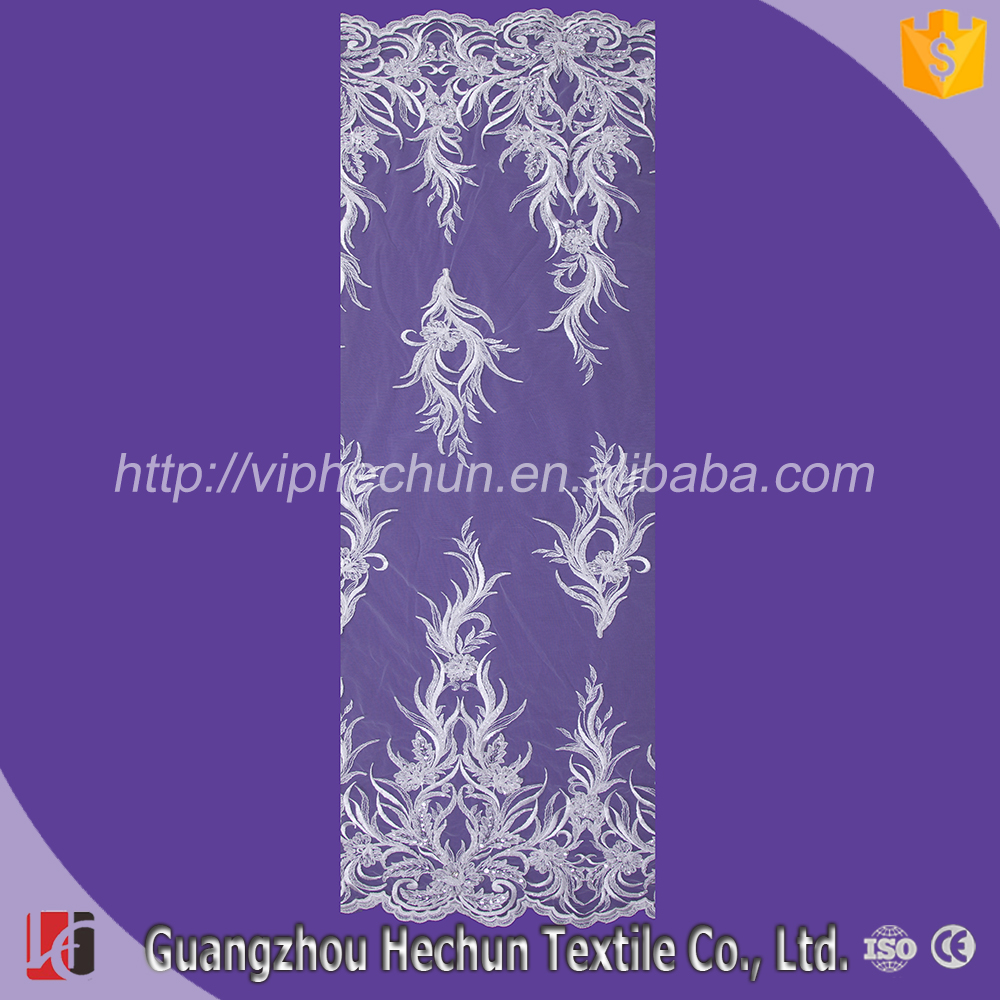 HC-3469 Hechun Factory White Beaded Sequined Bridal Lace Fabric for Dress