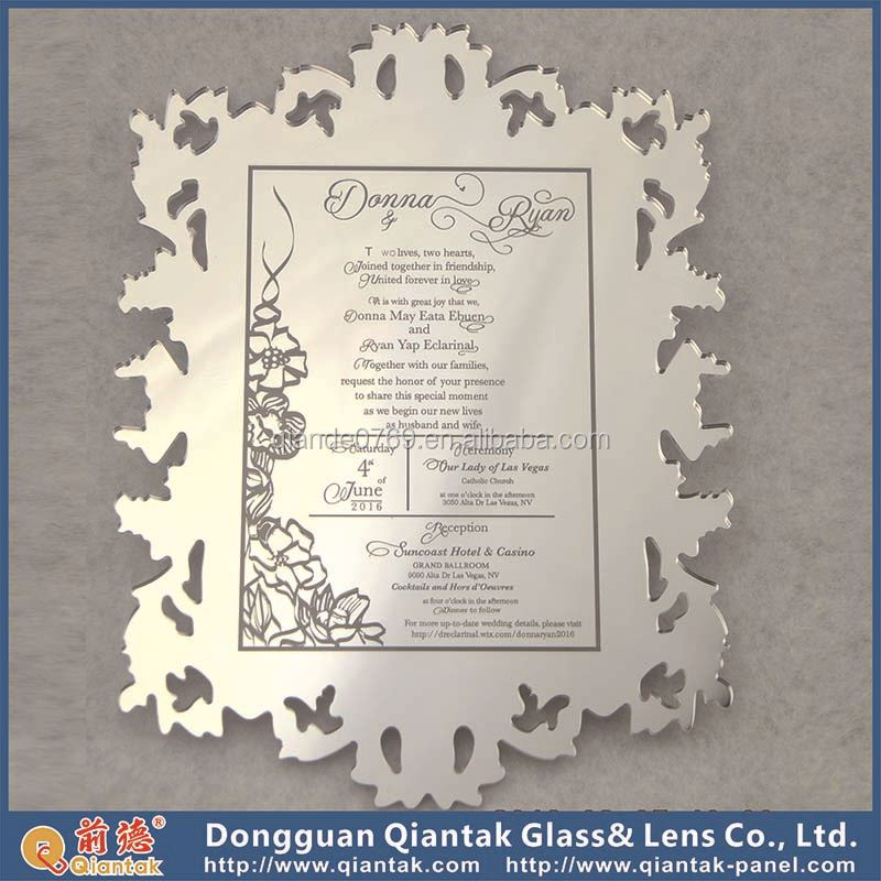 Factory Directly Selling Golden Mirror Acrylic Wedding Invitation Wholesale
