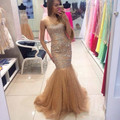 2017 Luxury Champagne Evening Dresses Mermaid Style Long Beaded Tulle Formal Women Evening Gowns Vestido De
