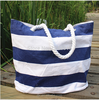 Large(48*40cm) Ecological Cotton Navy&White Striped Shopping Bag Canvas Tote shopping Bag