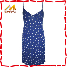 Ladies Sleeveless Spotty Chemise Nightdress Blue Long Dress Women's Sex Night Wear for Women