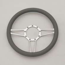 CNC Satin 350mm Leather Alunminum Steering Wheel