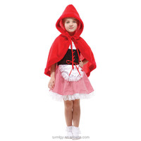 Kids Girls Little Red Riding Hood Cosplay Costume
