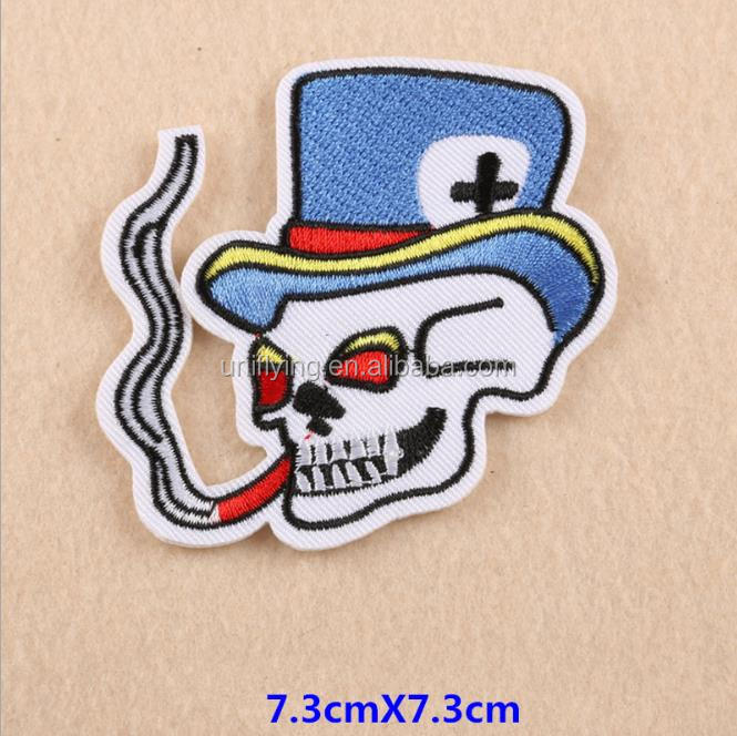 Fashion High Quality Custom Skull Iron On Patches Design Embroidery Machine Made In China