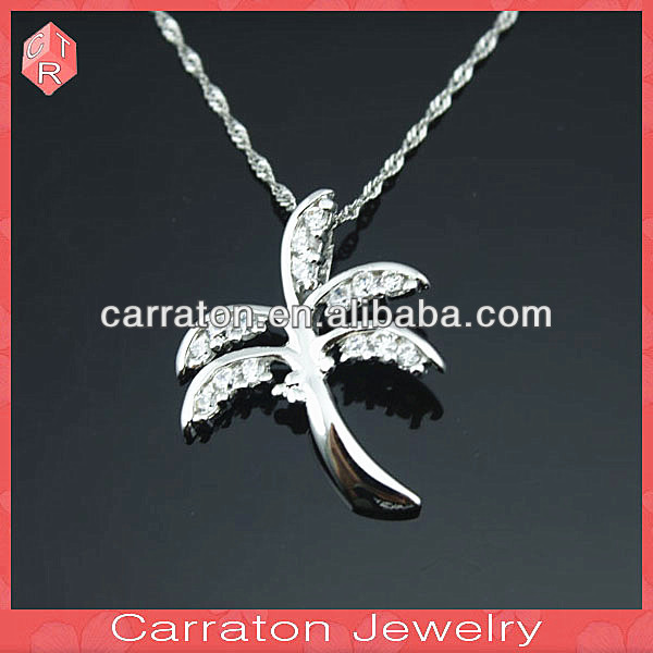 Fashion Accessory Silver CZ Pendant Coconut Tree Pendant
