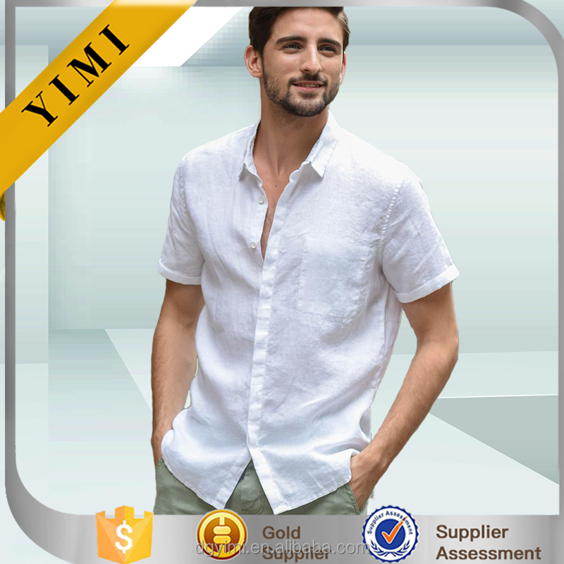 China wholesale short sleeve white chest pocket casual men linen shirts