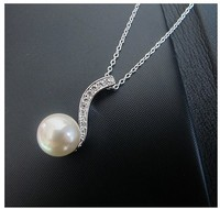 2015 Newest Silver Single Pearl Necklace long Chain 2 tones pendant necklace