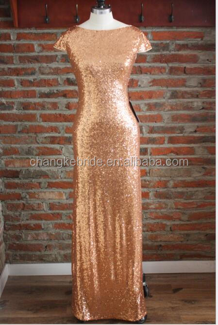 2016 Stylish Gold Sequin Top Long Evening Dresses For Women Maxi Dress To Party