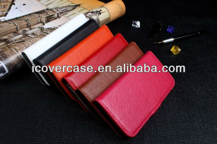 For iphone 5 5s real leather lychee pattern wallet flip case cover with 6 colors