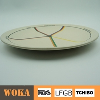 2015 Eco-friendly Bio bamboo fiber dinner plate ,colorful devided plastic dinner plate