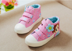 KCS027 boy girl latest design soft soled good-looking lip printing casual canvas kids shoes