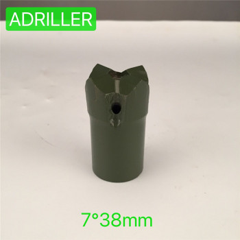 top hammer rock drilling tools 7  degree 38mm tapered cross-type short skirt insert button drill bit