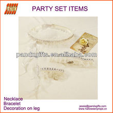 Sexy white lace party decoration :necklace bracelet Ring for masquade