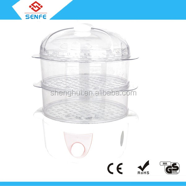 Hot selling square plastic microwave steamer /cooking food steamer with big and small steam bowls
