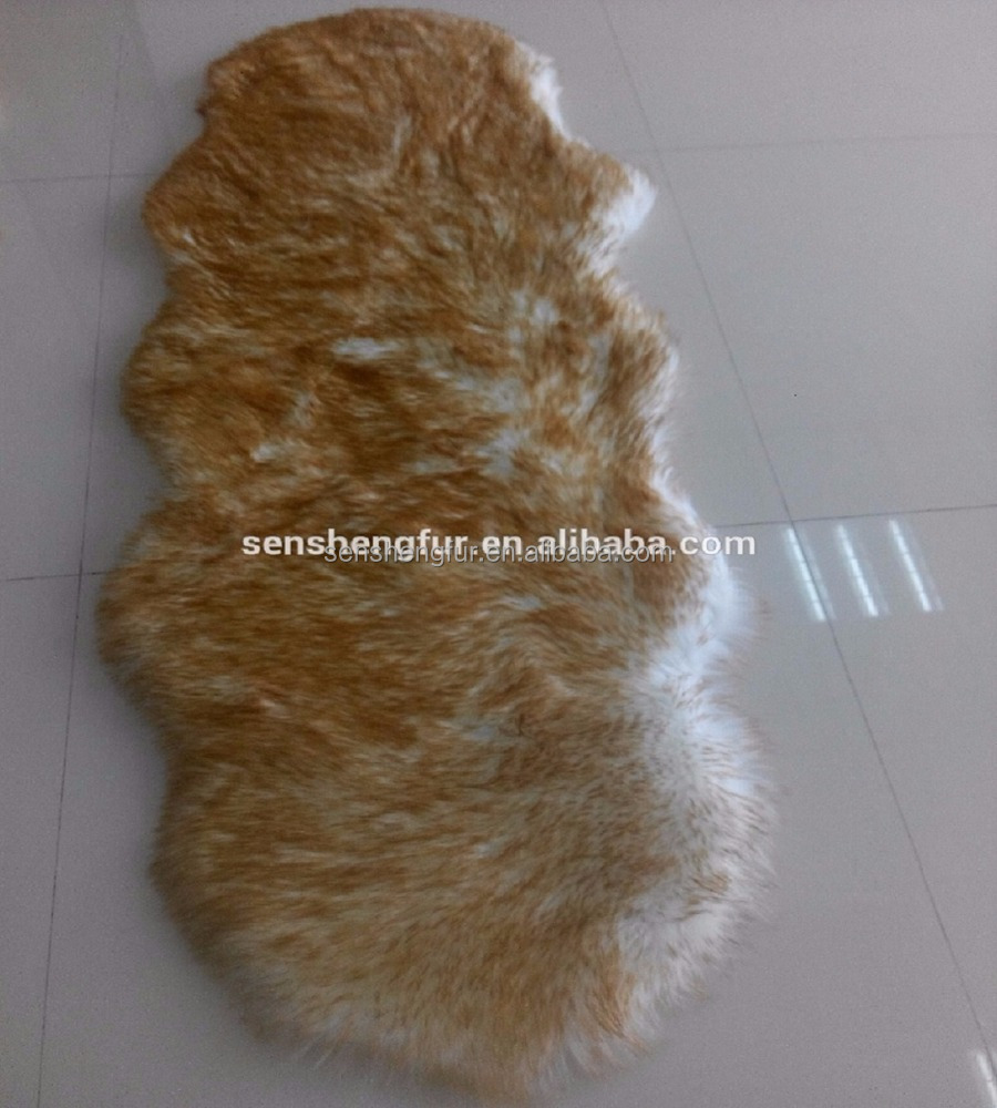 wholesale price faux double sheepskin rug color tipped