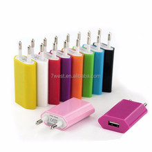 Colourful portable EU single usb port travel charger 5V 1A usb charger