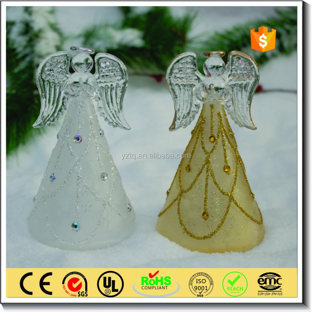 Handmade christmas led glass angel with wings for tree decoration