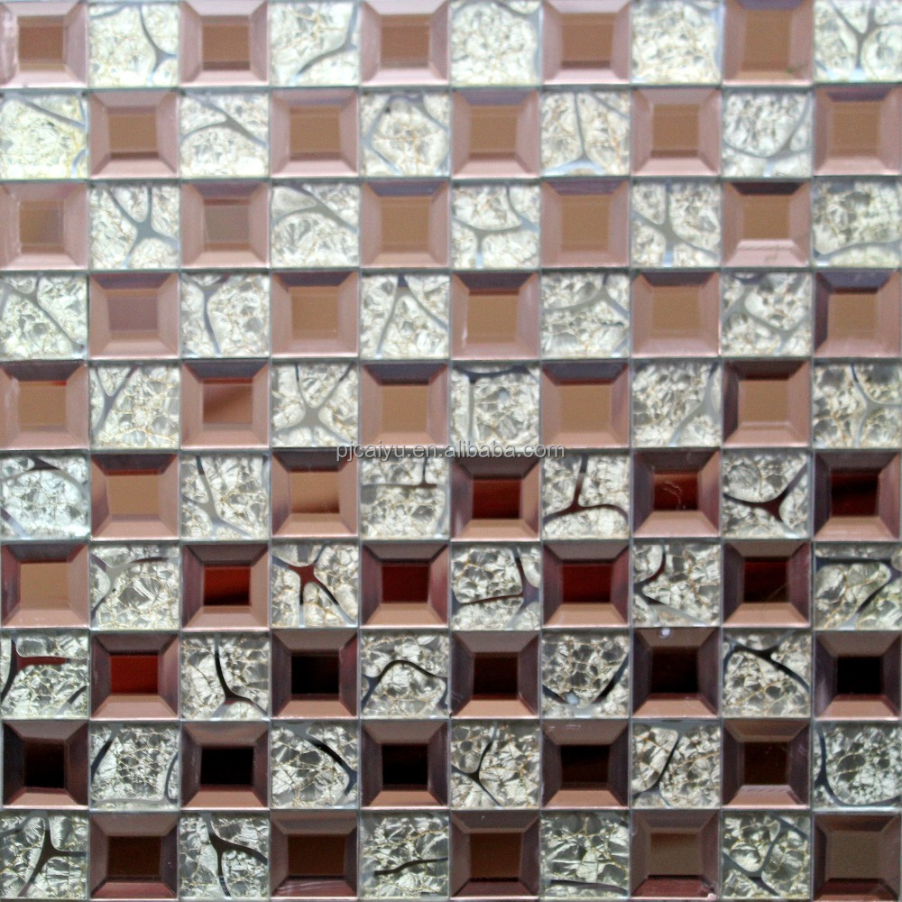 mosaic tiles philippines 3*3 brown square mirror glass home decoration