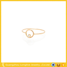 18K gold plated circle with one diamond ring