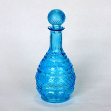 Round Blue Glass Champagne Bottle