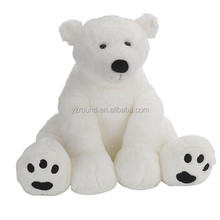 Sitting big giant polar bear with embroidery foot toy